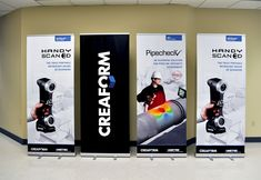 Retractable banner stands with vinyl graphics created for Creaform. Rollup Banner Design, Retractable Banner, Show Booth, Banner Stands, Blockchain Technology, Stage Design, Trade Show, Retail Design, Banners
