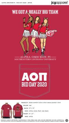 Alpha Omicron Pi Bid Day Shirt | Sorority Bid Day Shirt | Greek Bid Day Shirt #alphaomicronpi #aopi #aoii #aop #Bid #Day #Shirt Sorority Bid Day, Sorority And Fraternity, Bid Day Shirts, Bid Day Themes, Alpha Omicron Pi, Custom Design Shirts, Comfort Colors, Colorful Shirts, Screen Printing
