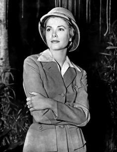 """Grace Kelly in Safari attire for her supporting role in """"Mogambo"""" with Clark Gable and Ava Gardner. Classical Hollywood Cinema, Old Hollywood Movies, Hollywood Stars, Hollywood Actresses, Classic Hollywood, Hollywood Divas, Hollywood Glamour, Grace Kelly Style, Princess Grace Kelly"""