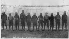 Press photo of soccer team of British soldiers with gas masks, somewhere in Northern France, Press photo. Bibliothèque nationale de France, département Estampes et photographie, World War One, First World, Football Squads, Football Team, School Football, Football Odds, Football Players, British Football, Chemical Weapon