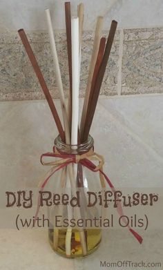 DIY Reed Diffuser with Essential Oils . DIY Reed Diffuser with Essential Oils This simple and easy DIY Reed Diffuser will help diffuse the smell of e Citronella Essential Oil, Essential Oil Diffuser Blends, Doterra Essential Oils, Young Living Essential Oils, Homemade Reed Diffuser, Diffuser Diy, Reed Diffuser Oil, Diffuser Recipes, Pots