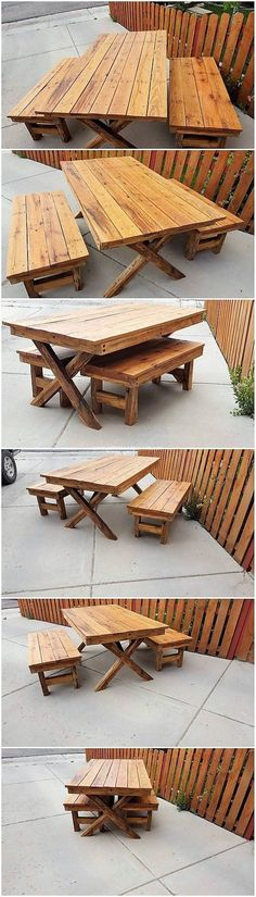 In this superbly designed wood pallet project, we have the creative placement of the table and benches for your garden area. This table and benches furniture set has been beautifully featuring seating arrangement for you. It is being designed in simple blends that looks so decent and sophisticated for your garden location.