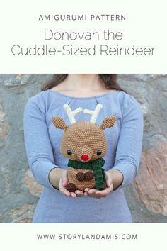 Donovan the Cuddle-Sized Reindeer Amigurumi Pattern-Storyland Amis Christmas Crochet Patterns, Crochet Patterns Amigurumi, Amigurumi Doll, Crochet Dolls, Crochet Crafts, Easy Crochet, Crochet Projects, Baby Penguins, Sewing Basics