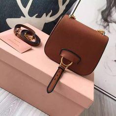 9361b942dc81 Miu Miu 5BD033 Small Calf Leather Dahlia Shoulder Bag Brown 2016