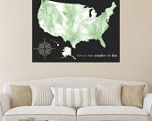 Unique Gift Idea, Canvas Map or Print, Mark places visited or office locations // Personalized, Gallery Wrapped Canvas or Print // H-I13-1PS