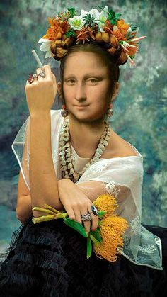 Lisa but why cigarete no good for your health you no this ego no good for you watch out dear Lisa Gherardini, Mona Friends, La Madone, Mona Lisa Parody, Mona Lisa Smile, Many Faces, Cultura Pop, Famous Women, Portrait