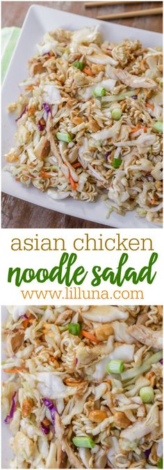 Asian Chicken Noodle Salad made with cabbage, ramen noodles, peanuts, chicken and topped with a homemade sesame dressing. (Clean Eating Sesame Chicken)