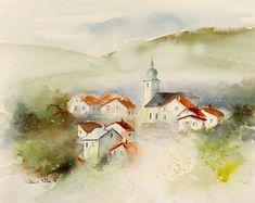 Acuarela de una aldea de Vosgien en la niebla de la pintura original de mañana - niebla alrededor de la torre de campana - de algunas casas en Francia