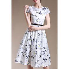 Trendy Short Sleeve Round Collar Slimming Floral Print Women's Dress (YELLOW,S) in Print Dresses   DressLily.com