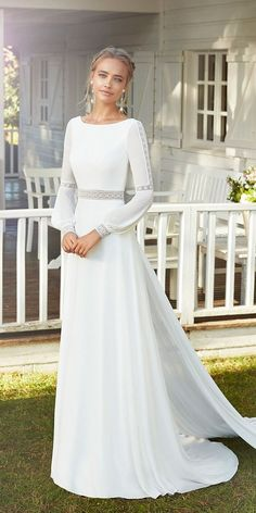 Cute Modest Wedding Dresses To Inspire ★ modest wedding dresses simple with l. Cute Modest Wedding Dresses To Inspire ★ modest wedding dresses simple with long sleeves a line bohemian rosa clara Denim Wedding Dresses, Plain Wedding Dress, Modest Wedding Gowns, Long Sleeve Wedding, Bridal Dresses, Simple Wedding Dress With Sleeves, Backless Wedding, Simple Dresses, Mormon Wedding Dresses