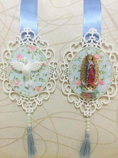 Escapulário de porta - branco, azul e floral