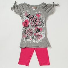 Girls Animal Print Hearts and Leggings Set - another cute outfit.