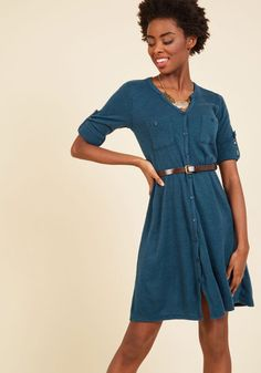 You're quickly learning how to be the best teaching assistant you can be in this knit dress! Colored with a deep teal-blue, touting tabbed sleeves, and cinched at the waist with a brown belt, this button-up dress outfits you with approachable authority.