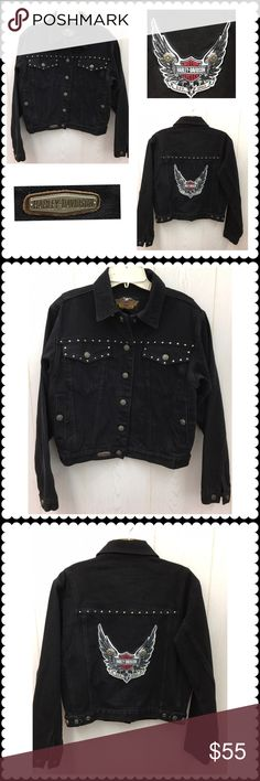 Black denim Jacket by HARLEY DAVIDSON Black denim jacket by HARLEY DAVIDSON. Sz Small Harley-Davidson Jackets & Coats Jean Jackets