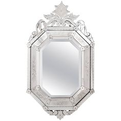 Antique Italian Mirror of Venetian Glass | See more antique and modern Wall Mirrors at https://www.1stdibs.com/furniture/mirrors/wall-mirrors