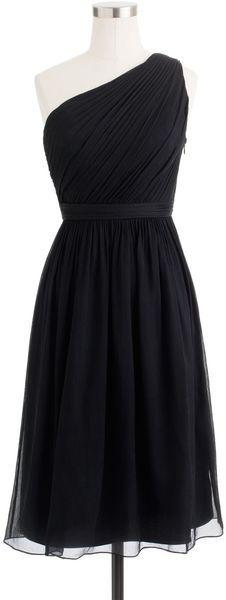J.crew Black Tall Kylie Dress in Silk Chiffon