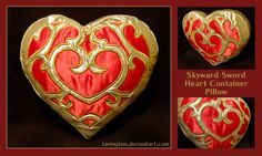 I cannot imagine the amount of patience needed to piece together this amazing appliqué Skyward Sword heart pillow: