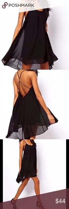 SEXY BLACK CHIFFON BACKLESS STRAPY DRESS  Sexy, black, chiffon, strapy, backless dress. Lovely, chiffon dress with gold bar detail in the back that is adjustable. Well constructed. 100% Poly/Chiffon. Size S, 4/6. Reasonable offers/bundles welcome. 5% off 2 items/10% 3 or more items. My environment is clean/organized/pet/smoke free. Thank you for shopping my closet. Dresses