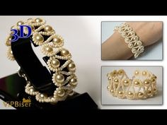 Beaded Bracelet with Pearls. 3D Beading Tutorial - YouTube