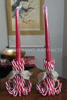 Pair Reusable Candy Cane Candle Holders, Choose Your Ribbon! – Taper Candles – Christmas Candlestick Holders – Creative Candles – DIY World Christmas Candles, Christmas Centerpieces, Christmas Wreaths, Christmas Decorations, Christmas Ornaments, Candy Cane Decorations, Advent Wreaths, Nordic Christmas, Christmas Christmas
