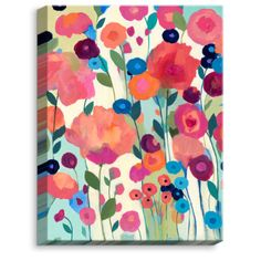 DiaNocheDesigns 'Howd You Get So Pretty Flowers' by Carrie Schmitt Painting Print on Wrapped Canvas Size: