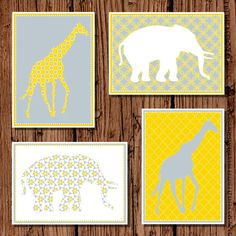 Baby nursery Giraffe and Elephant by pickledoodledesigns on Etsy, $12.00