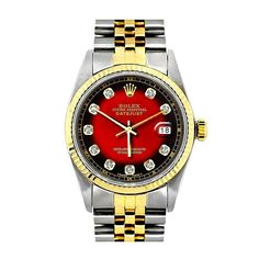 f6437784edf Rolex Oyster Perpetual Datejust Mens Diamond Watch Red Dial 18K Gold