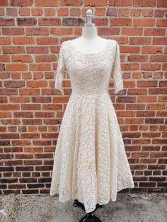 1950s Cocktail Wedding Dress / Vintage Lace Sequins Bridal Gown on Etsy, $148.00