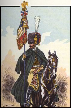 Tenente porta stendardo dei cacciatori a cavallo della guardia imperiale francese