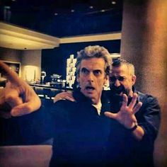 Peter Capaldi & Sean Pertwee ( son of Jon), it's all in the Who family!!