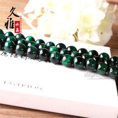久雅 天然水晶 绿虎眼半成品 DIY手工饰品 绿虎眼散珠圆珠串珠
