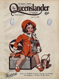 Illustrated front cover from The Queenslander, April 1937 by State Library of… Vintage Magazines, Vintage Ads, Vintage Images, Vintage Posters, Bucket And Spade, Australian Vintage, Queenslander, Going On Holiday, Vintage Children