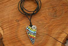 Shot through the Heart Mosaic Pendant, glass bead Pendant, Wearable Art