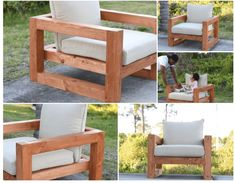 DIY Wood Lounge Patio Chair with Cushioned Seat and Back (Chunky Style) Wood Patio Chairs, Wood Patio Furniture, Outdoor Furniture Design, Patio Cushions, Furniture Projects, Wood Projects, House Projects, Diy Patio, Backyard Patio