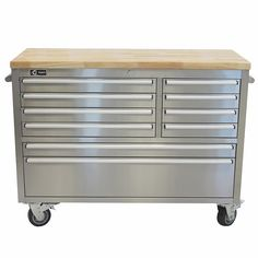 "TRINITY 48"" Stainless Steel Rolling Workbench"