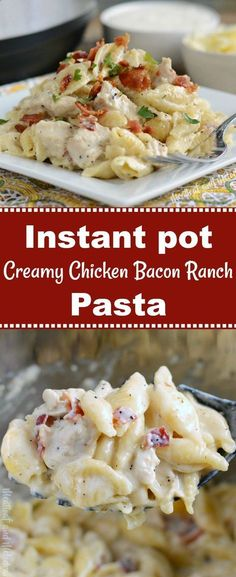 Instant Pot Creamy Chicken Bacon Ranch Pasta is a quick and easy pressure cooker dinner recipe made with chicken, pasta shells and bacon in a cheesy ranch dressing sauce. This one pot chicken dinner takes about 30 minutes to make, and even picky eaters go Bacon Recipes, Cooking Recipes, Pepperoni Recipes, Healthy Recipes, Jalapeno Recipes, Skillet Recipes, Kraft Recipes, Cooking Gadgets, Cooking Food