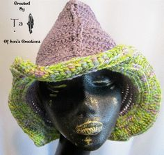 Purple and Lime Green Triangle Shaped Cowboy Hat by IonisCreations, $45.00