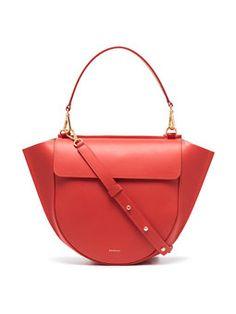 Red Hortensia Medium Leather Shoulder Bag