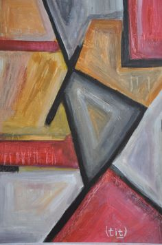 """Vladimir Titov - Triangle  formaat schilderij: 56 x 46 cmformaat inclusief lijst: 64 x54 cmOp voorzijde schilderij rechtsonder gesigneerd (Tit). Op achterzijde gesigneerd (V.V.Titov) gedateerd (2017) getiteld (""""Triangle"""") en techniek (Acrylic on board)Ingelijst in witte houten lijst (4.5 x 2 cm)Conditie: zeer goedVladimir Titov (Kaliningrad 1948) vertrok toen hij zeven was met zijn gezin naar de Koerilen-eilanden (ten noordoosten van Hokkaid Japan) waar hij 3 jaar heeft gewoond. In 1960…"""