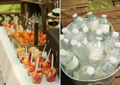 love the mini snacks in a cup.burlap details, props, flags, mil jugs, etc. Roaring 20s Birthday Party, 3rd Birthday Parties, Grad Parties, Giraffe Party, Teenage Parties, Party Like Its 1999, Travel Party, Ideas Para Fiestas, Party Snacks