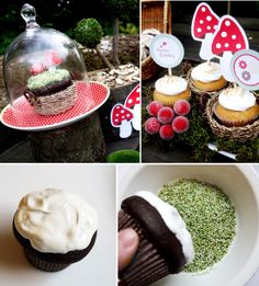 I like the bottom pic. Choc cupcake, white frosting, pistachio topping = looks like moss