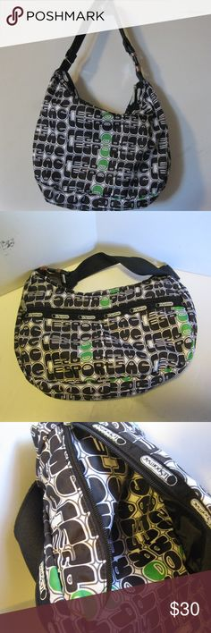 "Lesportsac Greta Hobo in Bounce with Buckle strap Lesportsac Greta Medium Hobo purse in discontinued Bounce print with Buckle strap. Very cute bacg with sytlized lesportsac word across bag in black/white/green print. Bag has a zip outside pocket, zIp top, and a slip pocket and zip pocket inside.   Bag measures 12"" x 8"" x 3"", and is in good shape! Lesportsac Bags Hobos"
