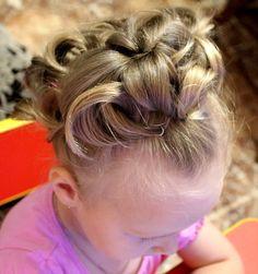 wavy hair bun of little girls
