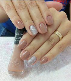 40 glitter gel nail designs for short nails for spring 2019 page 21 Glitter Gel Nails, Nude Nails, Nail Manicure, Neutral Nails, Elegant Nails, Chrome Nails, Gel Nail Designs, Perfect Nails, Simple Nails