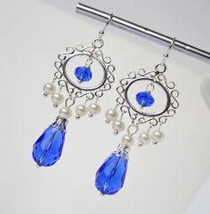 Pearl bridal earrings something blue by ArtemisBridalJewelry