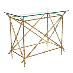Showcasing a bamboo-inspired base and gold finish, this glass-topped console table brings contemporary appeal to your living room or home library.
