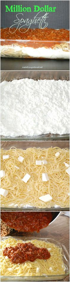 When all else fails, make spaghetti. But not just any spaghetti, Million Dollar Spaghetti. Your family will think you slaved in the kitchen all day! I wont tell, it will be our little secret.