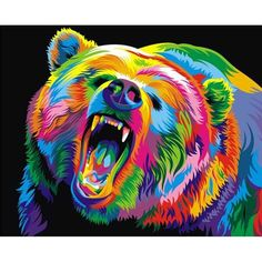 My Precious Paint by Numbers Angry Wolf Painting Oil on Canvas Wall Set Wolf Painting, Diy Painting, Your Paintings, Animal Paintings, Cross Stitch Kits, Cross Stitch Embroidery, Pop Art, Paint By Number Kits, Colorful Animals