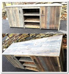 Why to spend money for buying a media console cabinet when you can create it at home utilizing the reclaimed wood pallets? You can paint the cabinet in any color suiting the furniture of the room. #Pallettvstands