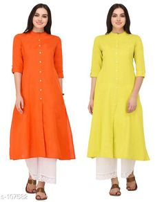 Kurtis & Kurtas Multicolored Cotton Kurti (Combo of 2)  *Fabric* Cotton  *Sleeves* Sleeves Are Included  *Size* XS, S, M, L, XL, XXL, 3XL,4XL ( Refer Size Chart For Details )  *Type* Stitched  *Description* It Has Combo of 2 Kurti  *Pattern* Solid  *Sizes Available* XS, S, M, L, XL, XXL, XXXL, 4XL *    Catalog Name: Solid Cotton Kurtis CatalogID_10640 C74-SC1001 Code: 949-107582-